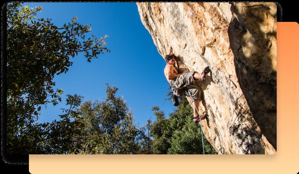 A climber facing a challenge