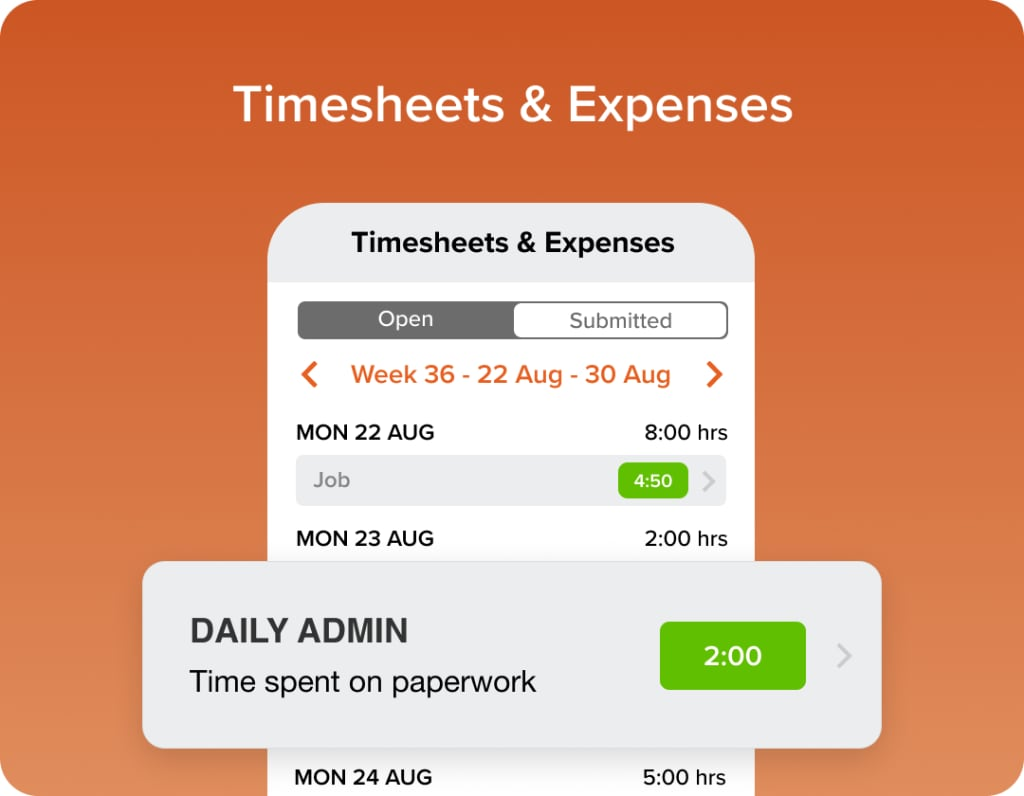 Timesheet and expenses mobile screen gradient