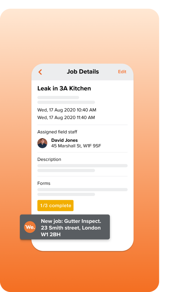 A graphic of Workever's Mobile App Job Details Screen