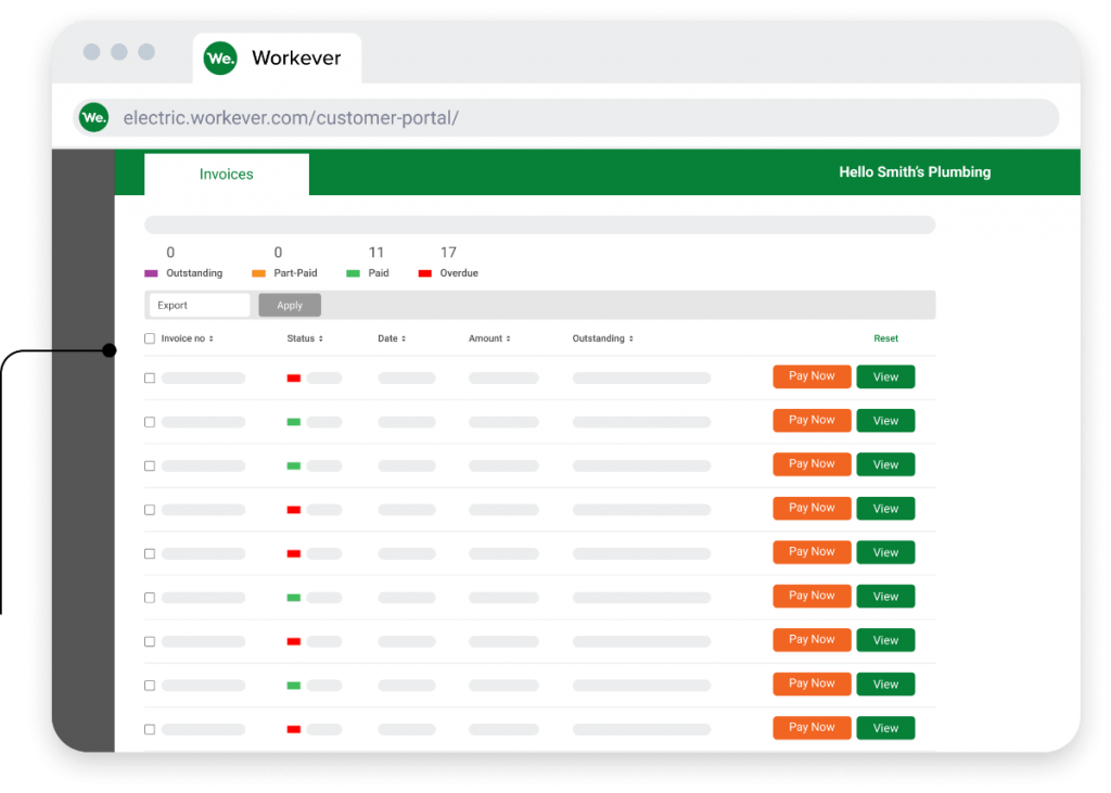 Workever's Customer Management Invoice Screen