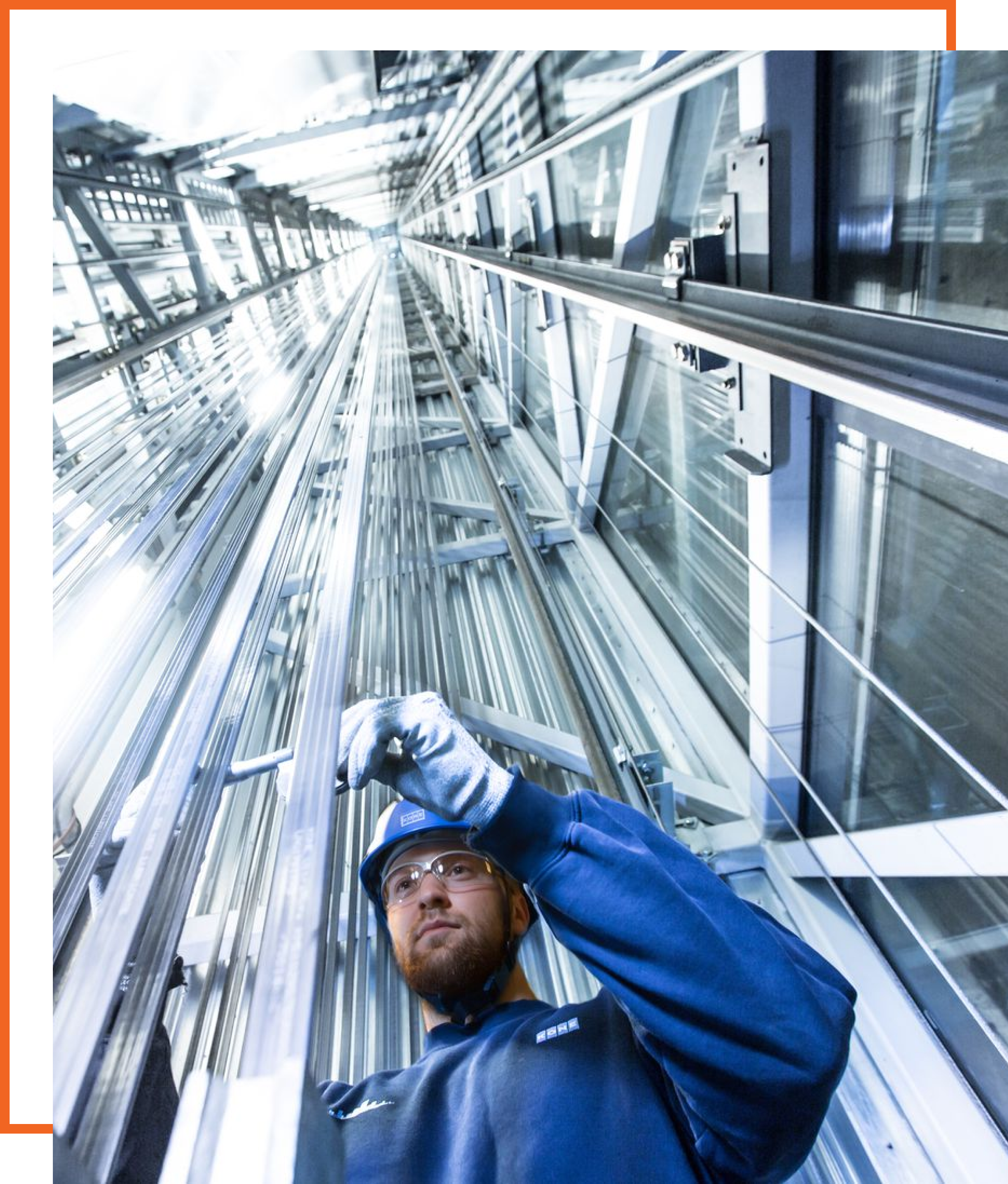 an elevator field service engineer on site