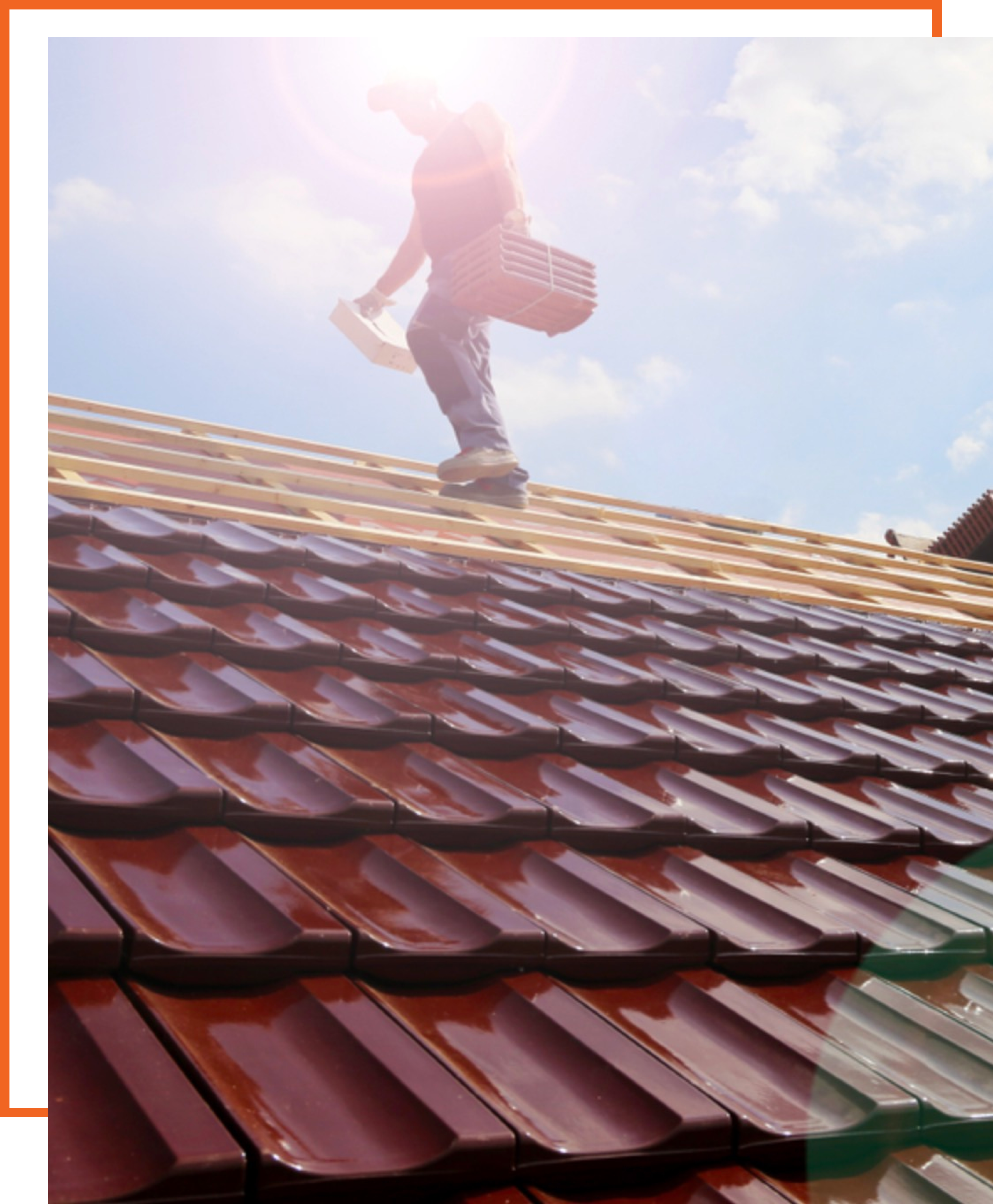 a roofer working on site on a sunny day with a decorative orange background