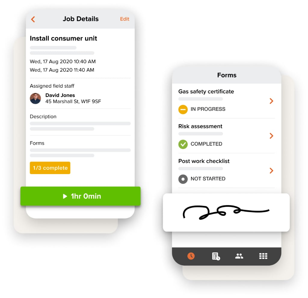 job details and forms mobile