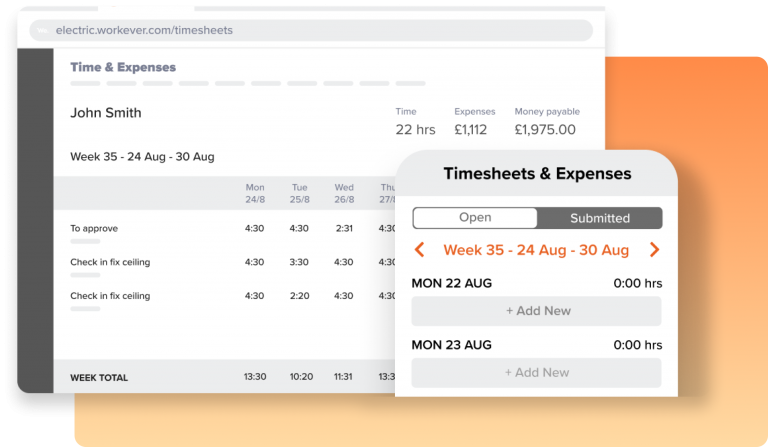 A screenshot of Workever's Field Service Management Timesheets Facility