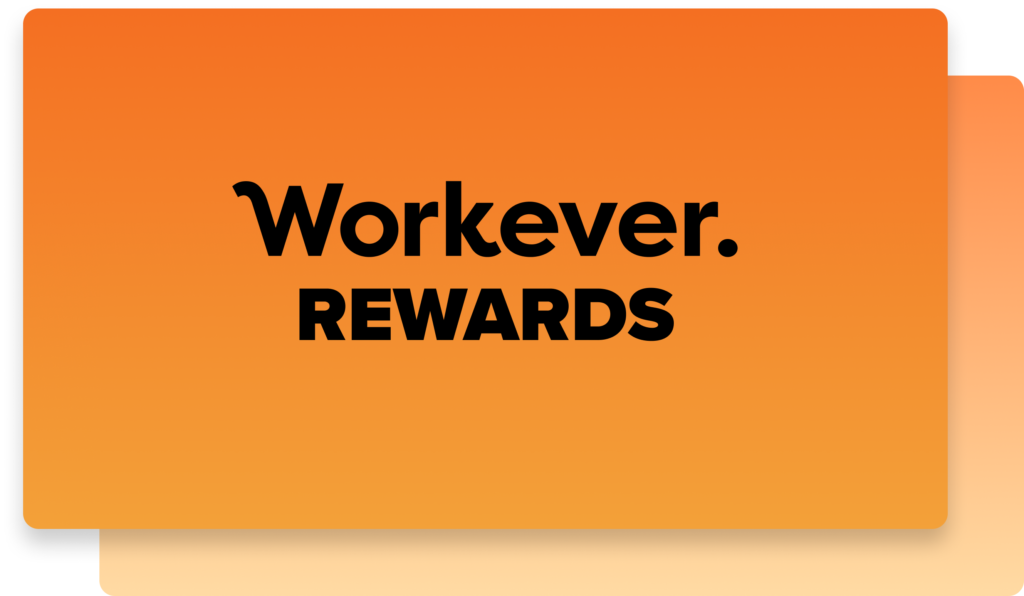 A workever rewards announcement with orange background