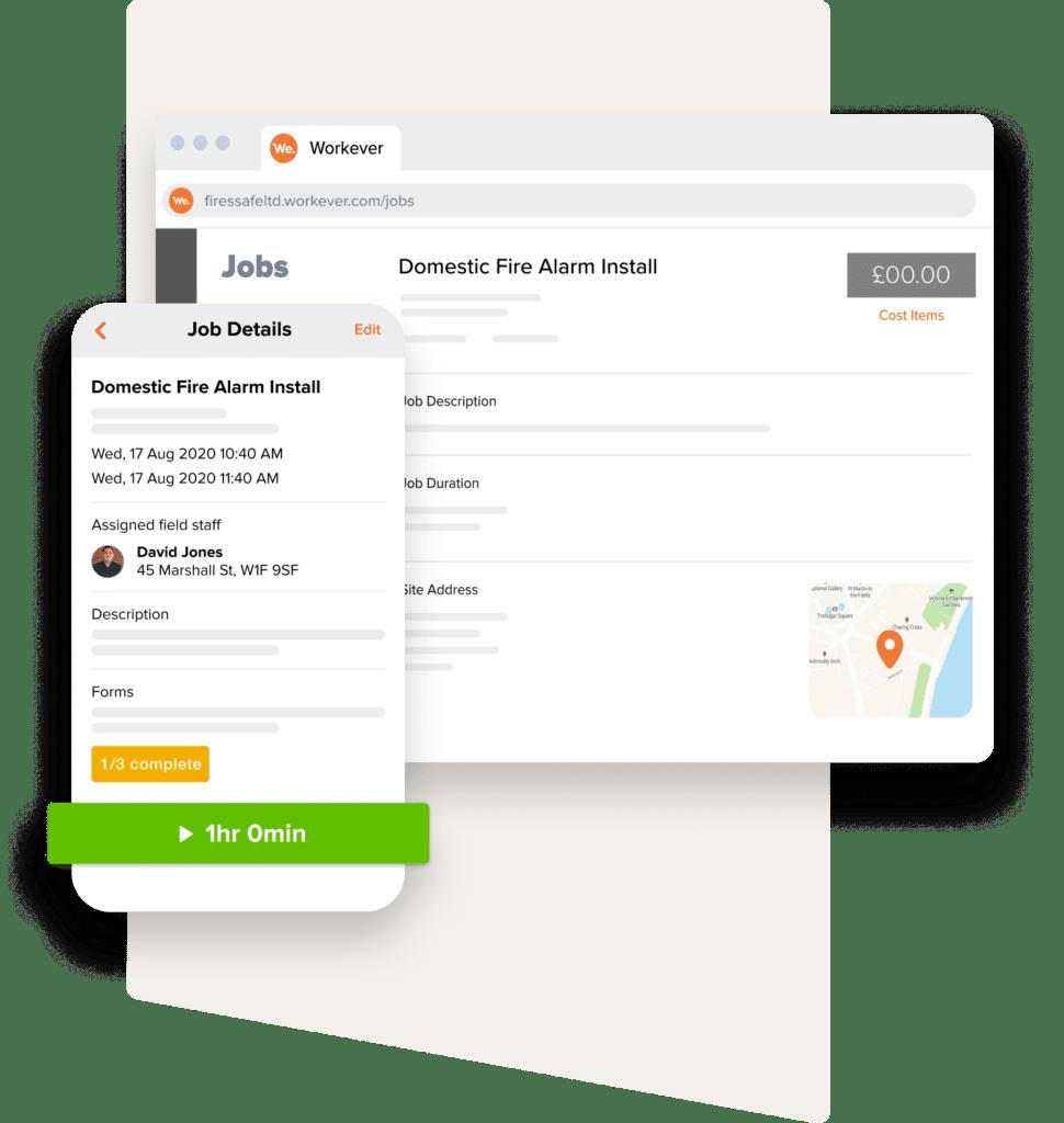 Workever's Desktop and Mobile App Job Management Screens