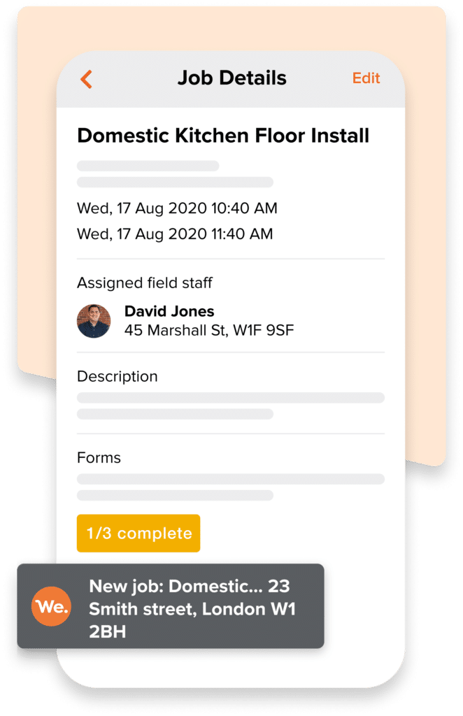 A graphic showing Workever's Flooring company mobile job management app screen